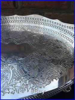 English Vintage Silver Gallery Tray