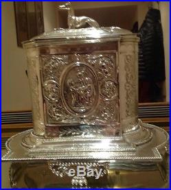 Exquisite Vintage Mappin & Webb Silver Plate Biscuit Barrel