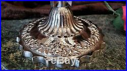 FAB Vintage ORNATE 18Tall HALLMARKED Silver Plate 3 Arm Epergne Crystal Bowls