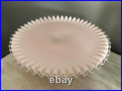 FENTON PINK ART GLASS SILVER CREST CAKE STAND PLATE CRIMPED EDGE VTG 1950s
