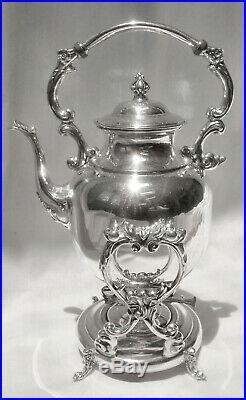 GORGEOUS! Vtg English Slv Plate O/C Tilt Teapot Water Pot withStand & Burner Pot