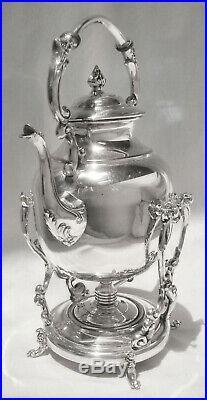 GORGEOUS! Vtg English Slv Plate Tilt Coffee/Teapot/Water Pot wStand & Burner Pot