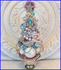 GORGEOUS vintage MErmAId Rhinestone SILVERplate base Ornaments bottle brush tree