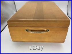 GORHAM STEGOR ALOHA SILVER PLATED FLATWARE SET With Wood Box VTG 74 Pcs #1601