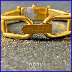 GUCCI Vintage 1500L Quartz Women's Bangle Wrist Watch Gold Plated Black Dial
