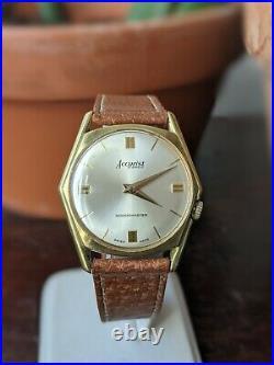 Gents Vintage Accurist Art Deco Hexagonal Slim Gold Plated Wind Watch Working