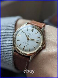 Gents Vintage Emka Geneva 17 Jewel Dress Gold Plated Slim 35mm Watch Working