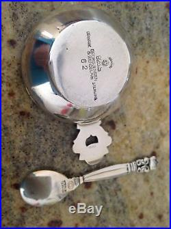Georg Jensen Vintage Enamel And Silver Acorn Salt With Spoon