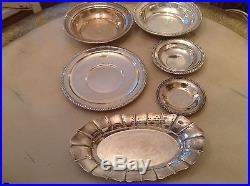 Group Lot of 6 Pieces of Vintage STERLING Bowls & Plates Total 1040 grams