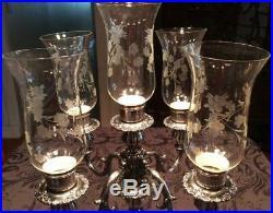 HUGE Vtg RARE WALLACE BAROQUE 5 candlestick CANDELABRA lamp shades Silver #266