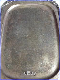 Huge Silver Plate Etched Serving Platter Tray Heavy Duty Vintage