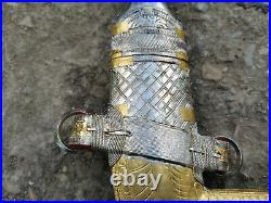Islamic Arab Jambiya Vintage Gold Plated Silver Khanjar Curved Dagger Knife