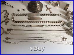 Job Lot of Antique & Vintage Silver Items Part Scrap