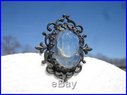 LAST ONE! 1940s FRENCH NOUVEAU SILVER PLATECHILD CAMEO GLASS VINTAGE BUTTON