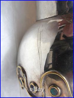 LOS CASTILLO Vintage Silver Plate & Malachite Stone PITCHER Taxco