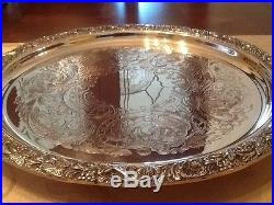 LOVELY VINTAGE E. H. PARKIN QUALITY SILVER PLATED CHASED FOOTED DRINKS TRAY