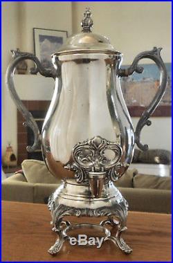 LOVELY! Vtg FB ROGERS Slv Plate Ftd Hot Water Coffee Samovar Urn withTap Dispenser