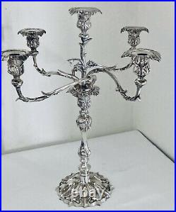 Large 20 Silver Plate Candelabra Vintage Antique Victorian Style 5 Light 4 Arms
