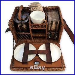 Lovely Vintage 1900 Antique Tea Picnic Basket Tea Kettle Burner Silver Plate