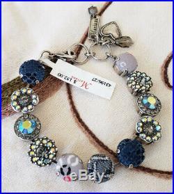 Mariana Vintage Fabric Blue Gray Floral Mosaic Silver Plated Swarovski Bracelet
