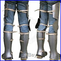 Medieval Leg Armor gothic plate legs Vintage Collectible Knight Crusader Steel