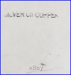 Modernist Vtg European Silver On Copper Gallery Tray Pierced Trimmed Ball Feet