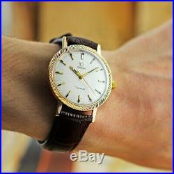 Nice Original Omega Gold Plated Fancy Bezel Manual Wind Vintage Gents Watch