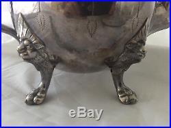Old Vintage Parker Casper Silver Plate LION Footed Teapot Tea Pot Antique Ornate