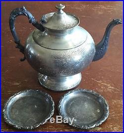 Old Vtg Silverplate Dinner Serving Platter Tea Pot Dish Plate Rogers Lot Of 28