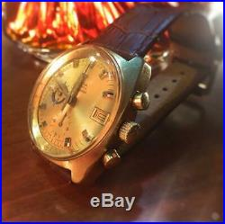 Omega Seamaster 1970s Chronograph Gold Plated Date Automatic Cal. 1040 Overhauled