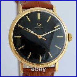 Original Omega Geneve 131.019 Gold Plated Manual Wind Black Dial Vintage 1966