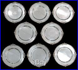 Outstanding Vintage 8 Theodore Starr Sterling Silver 10 Plates