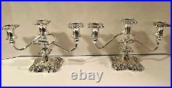 Pair Antique/Vintage Silver Plate 3 Light Candelabra Candleholders