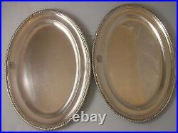 Pair Georgian 1807 1836 Silver Meat Plates 2968 grams Burwash Sibley Armorials