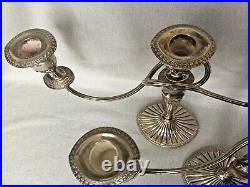 Pair Vintage 3 Arm Candelabra Falstaff Silver Plate Candlesticks Edwardian Style