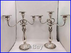 Pair Vintage Baroque by Wallace Silver Plated Floral Repousse Candelabra