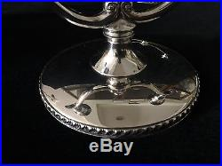 Pair Vintage Modern Oneida Fiesta Silver Plate Candelabra Candlesticks, 7 Wide