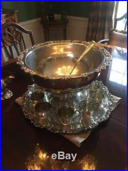 Punch Bowl Vintage Sheridan Silverplate includes cups, platter and ladle