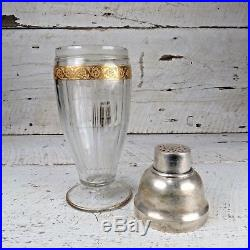 RARE Antique Art Deco Cocktail Shaker Cut Glass Silver Plate Gold Flowers VTG