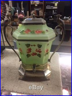 RARE VINTAGE c1920's SAMUEL WEISS HAND PAINTED GLASS & SILVER PLATED SAMOVAR URN