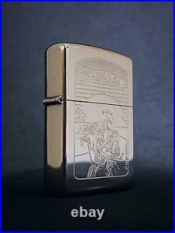 RARE Vintage 1994 Silver Plate Camel Biker Joe Zippo Lighter NOS NMINT
