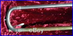 RARE-Vintage F. Millard TROMBONE (C. G. CONN) Small Bore Silver plate