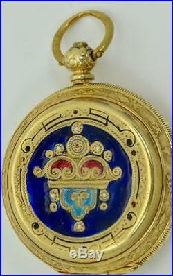 Rare 19th C. French gold plated silver&enamel watch by Le Roy for Ottoman market