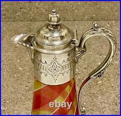 Rare Antique Victorian Sheffield Silver Plate Swirled Glass Ornate Claret Jug