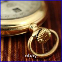 Rare Jump Hour Modernista Gold Plated Original Vintage Open Face Pocket Watch