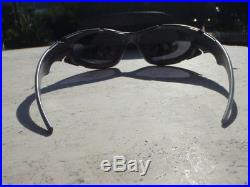 Rare OAKLEY PLATE Flat Matte Silver Black Iridium lens 03-850 VINTAGE w Oak Case