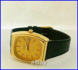 Rare Omega DeVille Quartz 192.0036 32x38mm Cal. 1342 20M Gold Plated Men's Watch