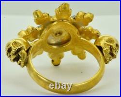 Rare Victorian Memento Mori Skull 18k gold plated silver&2.7ct Garnets ring