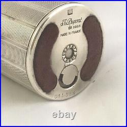 Rare Vintage Dupont Table Lighter Cylinder Silver plated 70s