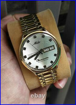 Rare Vintage Mido commander chronometer 9439 daydate Gold Plated swiss made